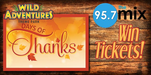 Wild Adventures Days of Thanks Ticket Giveaway